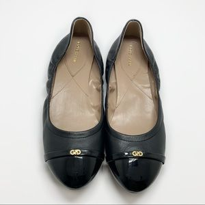 Cole Hawn Elsie Black Leather Baller Flats Size 10